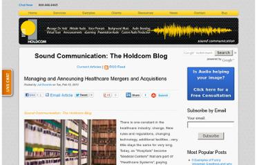 http://soundcommunication.holdcom.com/bid/94127/Managing-and-Announcing-Healthcare-Mergers-and-Acquisitions