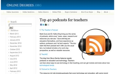 http://www.onlinedegrees.org/top-40-podcasts-for-teachers/