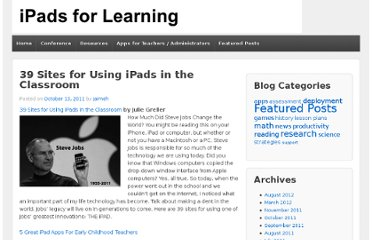 http://ipadsforlearning.com/39-sites-for-using-ipads-in-the-classroom/