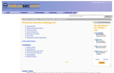http://www.matousec.com/projects/proactive-security-challenge-64/