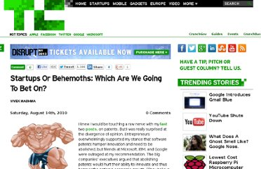 http://techcrunch.com/2010/08/14/startups-or-behemoths-which-are-we-going-to-bet-on/