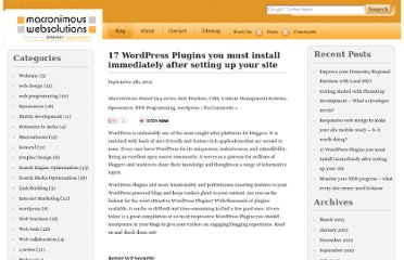 http://blog.macronimous.com/17-wordpress-plugins-you-must-install-immediately-after-setting-up-your-site/