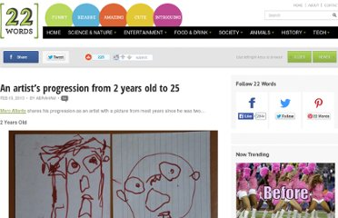 http://twentytwowords.com/2013/02/15/an-artists-progression-from-2-years-old-to-25/