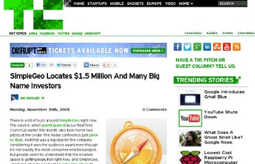 http://techcrunch.com/2009/11/30/simplegeo-funding/