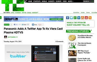 http://techcrunch.com/2010/08/17/panasonic-adds-a-twitter-app-to-its-viera-cast-plasma-hdtvs/