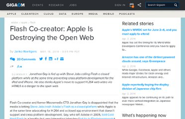 http://gigaom.com/2010/05/18/flash-co-creator-apple-is-destroying-the-open-web/
