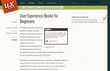 http://www.uxbooth.com/blog/user-experience-books-for-beginners/