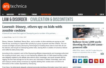 http://arstechnica.com/tech-policy/news/2010/08/lawsuit-disney-others-spy-on-kids-with-zombie-cookies.ars