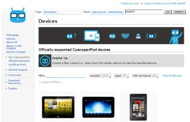 http://wiki.cyanogenmod.org/index.php?title=Devices#vendor=;
