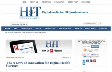 http://www.hitconsultant.net/2013/02/13/5-laws-of-innovation-for-digital-health-startups/