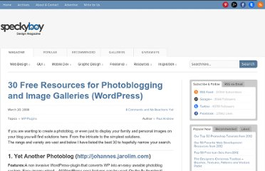 http://speckyboy.com/2008/03/20/30-free-resources-for-photoblogging-and-image-galleries-wordpress/