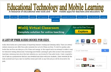 http://www.educatorstechnology.com/2012/02/list-of-free-audio-books-for-kids.html