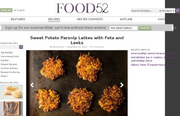 http://food52.com/recipes/7939-sweet-potato-parsnip-latkes-with-feta-and-leeks