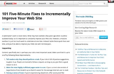 http://www.insidecrm.com/articles/crm-blog/101-fiveminute-fixes-to-incrementally-improve-your-web-site-53526