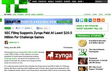 http://techcrunch.com/2010/06/04/sec-filing-suggests-zynga-paid-at-least-20-5-million-for-challenge-games/