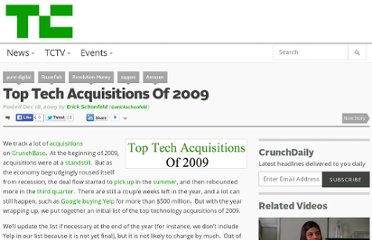 http://techcrunch.com/2009/12/18/top-tech-acquisitions-2009/