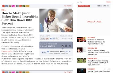 http://gawker.com/5614579/how-to-make-justin-bieber-sound-incredible-slow-him-down-800-percent