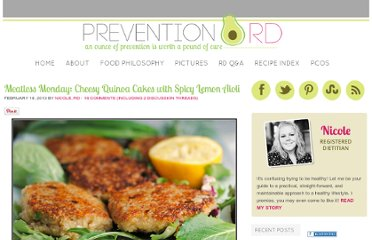 http://www.preventionrd.com/2013/02/meatless-monday-cheesy-quinoa-cakes-with-spicy-lemon-aioli/