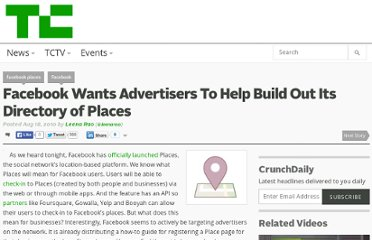 http://techcrunch.com/2010/08/18/facebook-wants-advertisers-to-help-build-out-its-directory-of-places/