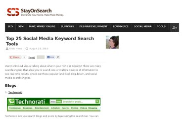 http://www.stayonsearch.com/top-25-social-media-keyword-search-tools-and-engines