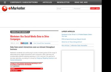 http://www.emarketer.com/Article/Marketers-Use-Social-Media-Data-Drive-Campaigns/1009682