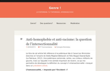 http://cafaitgenre.org/2013/02/22/anti-homophobie-et-anti-racisme-la-question-de-lintersectionnalite/
