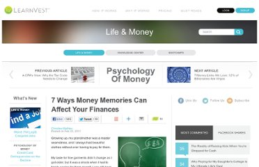 http://www.learnvest.com/2013/02/7-ways-money-memories-can-affect-your-finances/