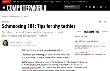 http://www.computerworld.com/s/article/340250/Schmoozing_101_Tips_for_shy_techies