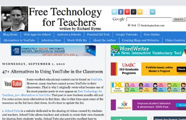 http://www.freetech4teachers.com/2010/09/47-alternatives-to-using-youtube-in.html#.USmeW6UUUy4