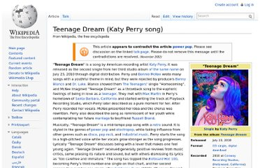 http://en.wikipedia.org/wiki/Teenage_Dream_(Katy_Perry_song)