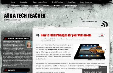 http://askatechteacher.wordpress.com/2013/02/27/top-6-ipad-apps-for-your-classroom-and-how-to-pick-them/