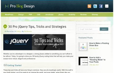 http://www.problogdesign.com/coding/30-pro-jquery-tips-tricks-and-strategies/