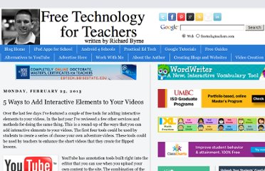 http://www.freetech4teachers.com/2013/02/5-ways-to-add-interactive-elements-to.html