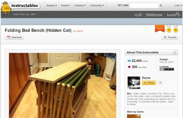 http://www.instructables.com/id/Folding-Bed-Bench-Hidden-Cot/