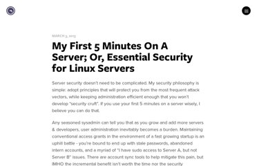 http://plusbryan.com/my-first-5-minutes-on-a-server-or-essential-security-for-linux-servers
