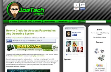 http://www.joetech.com/how-to-crack-the-account-password-on-any-operating-system/