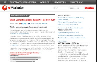 http://www.emarketer.com/Article/Which-Content-Marketing-Tactics-Best-ROI/1009706