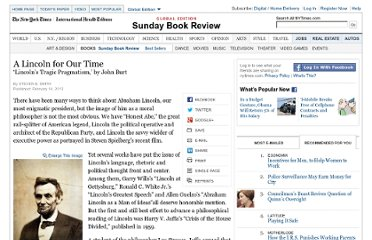 http://www.nytimes.com/2013/02/17/books/review/lincolns-tragic-pragmatism-by-john-burt.html
