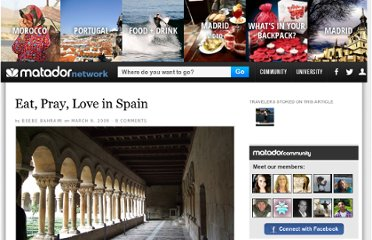 http://matadornetwork.com/trips/eat-pray-love-spain/