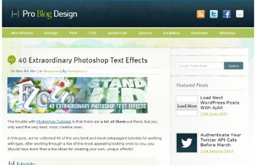 http://www.problogdesign.com/resources/40-extraordinary-photoshop-text-effects/