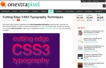 http://www.onextrapixel.com/2013/03/08/cutting-edge-css3-typography-techniques/