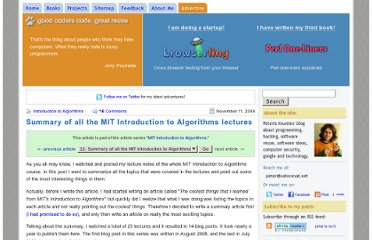 http://www.catonmat.net/blog/summary-of-mit-introduction-to-algorithms/