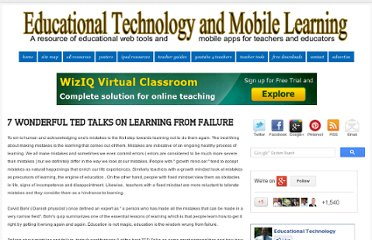 http://www.educatorstechnology.com/2013/03/8-wonderful-ted-talks-on-learning-from.html