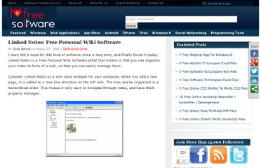 http://www.ilovefreesoftware.com/27/windows/productivity/linked-notes-free-personal-wiki-software.html