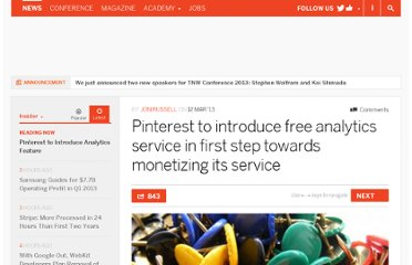 http://thenextweb.com/insider/2013/03/12/pinterest-to-introduce-free-analytics-service-in-first-step-towards-monetizing-its-service/