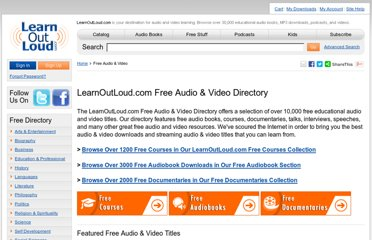 http://www.learnoutloud.com/Free-Audio-Video#directory