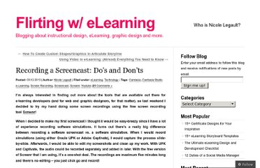 http://flirtingwelearning.wordpress.com/2013/03/12/recording-a-screencast-dos-and-donts/