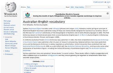 http://en.wikipedia.org/wiki/Australian_English_vocabulary