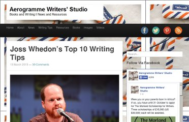 http://aerogrammestudio.com/2013/03/13/joss-whedons-top-10-writing-tips/