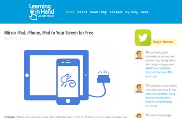 http://learninginhand.com/blog/2013/3/13/mirror-ipad-iphone-ipod-to-your-screen-for-free